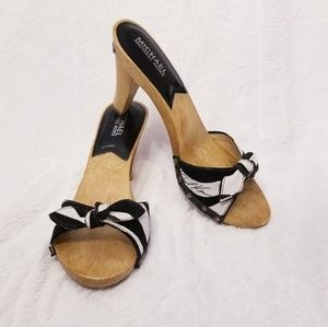 Michael Kors Vintage Zebra Fabric Bow Wood Heels